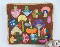 Vintage Needlepoint Pillow / 1970s Wool Mushroom Needle Point