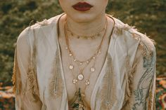Layering Kette Perlmutt - fleuriscoeur - Komplet biżuterii pozłacanej