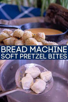 Bread Machine Soft Pretzel Bites are perfect for dipping and great finger food Pretzel Recipe Bread Machine, Easy Bread Machine Recipes, Pretzel Bread, Bread Maker Recipes, Pretzel Bites, Oven Recipes, Easy Recipes, Dinner Recipes