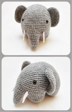 Crochet Amigurumi FREE Amigurumi Elephant Crochet Pattern and Tutorial -- I know I already have an elephant but. - Crochet these adorably round elephants with a brilliant technique that requires minimal attaching! Crochet Amigurumi, Amigurumi Patterns, Crochet Dolls, Knitting Patterns, Crochet Patterns, Crochet Elephant Pattern Free, Free Pattern, Cat Amigurumi, Cute Crochet