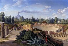 Jakob Philipp Hackert – Vista del gran teatro de Pompeya (1793)