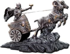 """Tanngrisnir & Tanngnjostr- Thor's chariot was pulled by two goats named Tanngrisnir and Tanngnjostr. The flesh of these goats was said to have provided the gods with sustenance so Thor would slay and cook them, then resurrect them with Mjolnir the following day"""