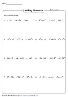 adding three binomials multivariable - Adding Polynomials Worksheet