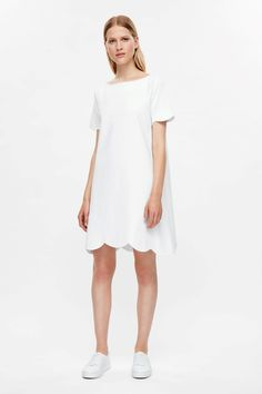 COS image 1 of Scalloped edge dress in White
