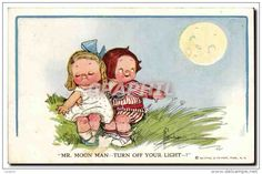 Fantaisie - Enfant - Humour - Illustration - Mr Moon Man Turn Off Your Light - CPA