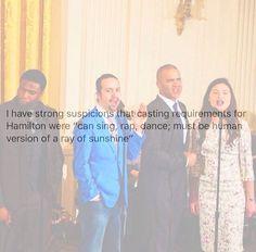 (Left to right)  Okieriete Onaodowan    (Hercules Mulligan / James Madison),  Lin Manuel Miranda    (Alexander Hamilton),  Christopher Jackon    (George Washington),  Phillipa Soo    (Eliza Hamilton)