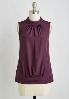 Midtown Magnificence Top in Plum by ModCloth - Red, Solid, Cutout, Work, Sleeveless, Fall, Woven, Better, Exclusives, Variation, Mid-length