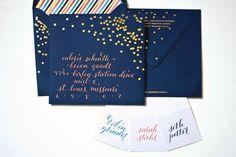 """Plurabelle Calligraphy + Metallic """"Confetti"""" + Striped Liner = Festive Fun"""