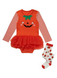 Help your little one be extra scary this Halloween as a bright orange pumpkin. Crafted in rich cotton, this piece features a pumpkin logo, striped sleeves and popper fastenings. This outfit includes pumpkin adorned tights and is finished with a delightful tutu. Orange halloween pumpkin tutu bodysuit Pumpkin logo Long sleeve Popper fastenings Crew neck Mesh tutu Pumpkin tights included Keep away from fire