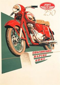 This vertical French transportation poster features a red motorcycle on a green and white background above the words confortable, rapide, sure. The beautiful Vintage Poster Reproduction is perfect for an office or living room. Vintage Cycles, Vintage Bikes, Vintage Motorcycles, Vintage Ads, Vintage Prints, Vintage Posters, Honda Motorcycles, Red Motorcycle, Motorcycle Posters