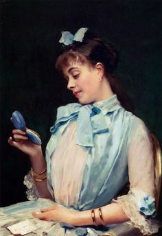 ~ Raimundo de Madrazo y Garreta ~ Spanish realist painter, 1841-1920: Portrait Of Aline Mason In Blue