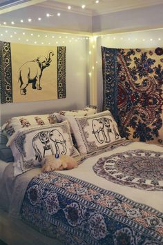 Image via We Heart It https://weheartit.com/entry/163922288 #asian #bedroom #elephant #grunge #indian #interior #pattern #urbanoutfitters