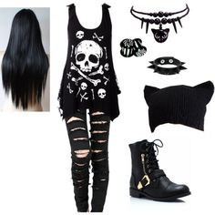 B&W Punk Girl Outfit by geena-keck on Polyvore Credit to the creator!