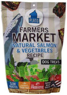 Plato Farmer Market Salmon & Vegetables Dog Treats Plato Farmers Market Real Strips Salmon & Vegetables recipe is grain-free with NO added sugars, artif Dog Treat Recipes, Dog Food Recipes, Organic Salmon, Veggies, Dog Treats Grain Free, Dog Training Treats, Healthy Grains