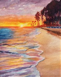 Tropical Beach Original Watercolor Painting, Sunset Morning Watercolor Painting, Ocean Painting , Beach Sunset Painting, Seascape by AnnaNwatercolors on Etsy https://www.etsy.com/listing/563761536/tropical-beach-original-watercolor