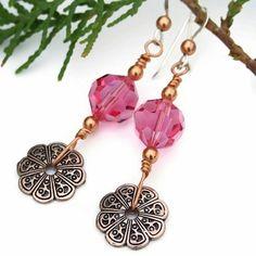 Copper Flower Pink Swarovski Handmade Dangle Earrings Filigree Jewelry | ShadowDogDesigns - Jewelry on ArtFire