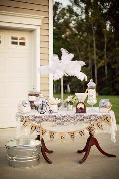 Vintage wedding table decoration ideas burlap and lace vintage wedding ideas burlap lace wedding table decor . 1920s Wedding, Chic Wedding, Rustic Wedding, Our Wedding, Dream Wedding, Wedding Ideas, Wedding Blog, Wedding Crafts, Wedding Planner