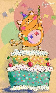 Gato con torta de cumpleaños Más