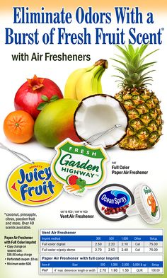 Fruit-ify stale oders with EMT Air Fresheners. Email customercare@emteasy.com for a free sample.