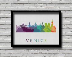 BOGO Cross Stitch Pattern Venice Italy Silhouette Watercolor Painting Effect Europe Cities Modern Design Embroidery City Skyline Xstitch