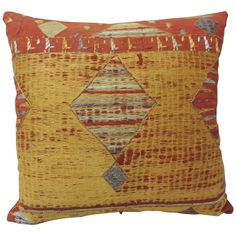19th Century Moroccan Embroidered Linen Pillow | From a unique collection of antique and modern pillows and throws at https://www.1stdibs.com/furniture/more-furniture-collectibles/pillows-throws/