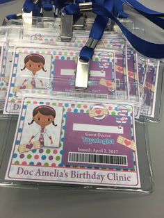 Doctor badges for the kids at the Doc McStuffins birthday party