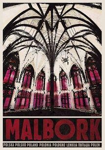 Malbork, plakat z serii Polska, Ryszard Kaja Glass Wall Art, Stained Glass Art, Polish Movie Posters, Railway Posters, Art Deco Posters, Art Hoe, Art Deco Period, Illustrations And Posters, New Wall