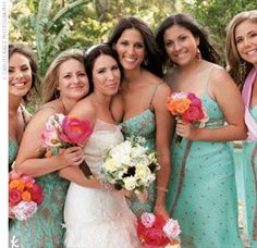 Lesleys bridesmaids wore turquoise dresses with bohemian-chic flair from Saks and carried eye-catching bouquets of peonies and roses in bright shades of apricot and pink.