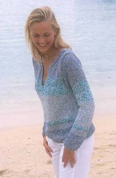 3. Hard to chose one, but I love a cotton pull over on a cool night by the water   Ravelry: 77-4 Pullover in Safran and Cotton Viscose pattern by DROPS design