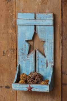 Your Heart's Delight by Audrey's - Wooden Shelf with Cut Out Star - Blue