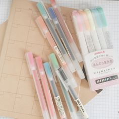 byeolnotes:  01062916 - MUJI gel pens .38 and midliners came in ;A;