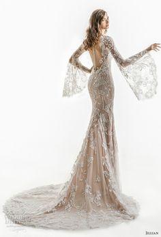 jillian 2018 bridal long bell sleeves sheer boat sweetheart neckline full embellishment elegant sheath wedding dress sheer button back chapel train (01) bv -- Jillian 2018 Wedding Dresses