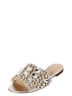 GEDEBE - 10MM CRYSTAL METALLIC LEATHER SANDALS - FLATS - SILVER - LUISAVIAROMA