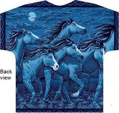 Moonlight Night On Thunder Ridge Horse Print Scrub Tops