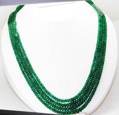 247 Cts Fine Natural Emerald Beads Necklace Zambia UnTreated Loose GemStone #RareGemIN