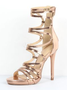 661ffe4d5 Gold Gladiator Sandals Women Open Toe Cut Out Strappy Sandal Shoes High  Heel Sandals