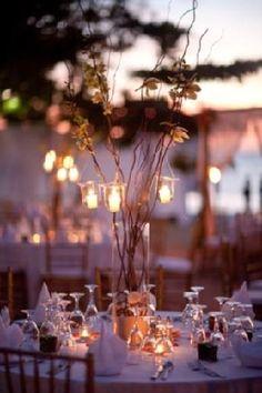 A sunset wedding reception on Moon Dance Villas' beach