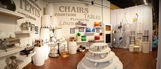 Event Rentals Showroom {inspiration for my own business Cyn} Event Rental Business, Event Planning Business, Business Goals, Business Ideas, We Work Office, Office Ideas, Office Decor, Shop Layout, Commercial Design