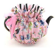 """Thistledown Cozies"" Tea Cozy (Tea Cosy) Teacups and Roses 6 Cup Wrap Around"