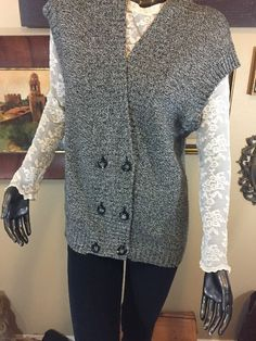 Ann Taylor M Black White Tweed Sleeveless Double Breasted Sweater Long Vest  | eBay