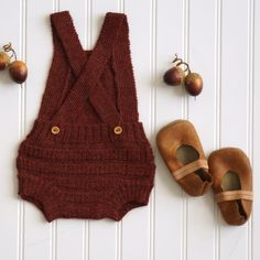 Bloomer Overall- Brick baby fall romper I Gender Neutral knit clothing I Petite Coo Knitwear for Babies I Fall Picture Outfit Inspiration