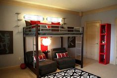 Loft bed with loungy chairs underneath that could convert to beds for friends