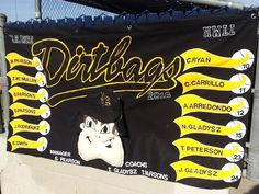 Handmade Felt Little League baseball Banner CSULB Dirtbags