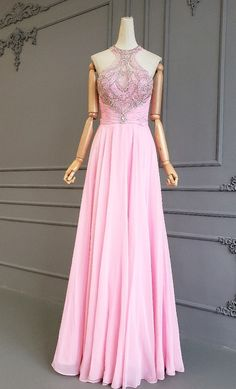 Fairy A Line Long Pink Chiffon High Neck Open Back Crystal Beaded Prom Evening Dress Blush Pink Prom Dresses, Winter Prom Dresses, Evening Dresses, Formal Dresses, Orange Blush, Purple Grey, Prom Dresses Online, Buy Dress, Crystal Beads