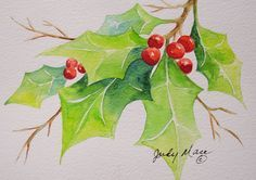 I painted this holly with berries in watercolor on natural white Canson greeting card stock. This all-occasion card measures 5 x 7 with envelope included. This card is an original gift in itself and each one is unique. Watercolor Christmas Cards, Christmas Drawing, Christmas Paintings, Watercolor Cards, Watercolor Flowers, Christmas Images, Christmas Art, Christmas Themes, Xmas Cards