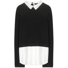 Alice + Olivia Faux Layered Sweater (€205) ❤ liked on Polyvore featuring tops, sweaters, shirts, long sleeves, black, alice olivia top, long sleeve sweaters, extra long sleeve shirts, layering shirts and alice olivia sweaters