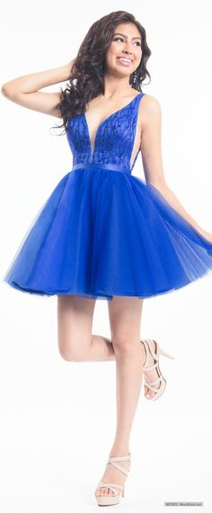 MP2003 Tulle sleeveless short dama homecoming dress features plunging V-neck  and V- 57e562b87