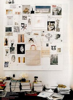 Love an inspiration wall for the home office