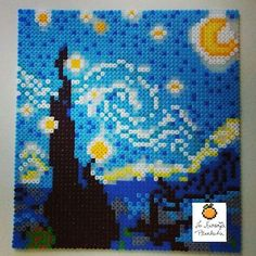 Starry Night (Van Gogh) perler beads by naranja_pixelada