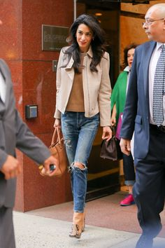 Amal Clooney running errands in New York City in Citizens of Humanity Jeans. See all of her best looks.